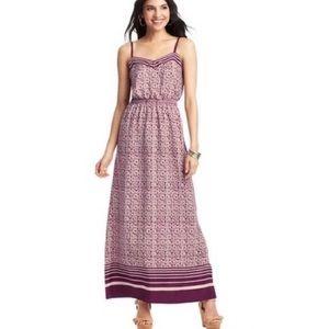 Ann Taylor Loft Purple Printed Maxi Dress
